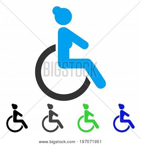 Disabled Woman flat vector illustration. Colored disabled woman gray, black, blue, green icon versions. Flat icon style for application design.