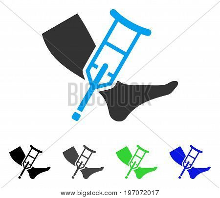 Leg And Crutch flat vector icon. Colored leg and crutch gray, black, blue, green pictogram variants. Flat icon style for web design.