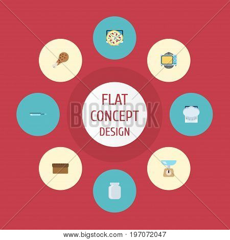 Flat Icons Loaf, Fried Poultry, Chef Hat And Other Vector Elements