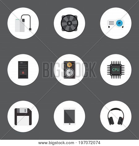 Flat Icons Microprocessor, Palmtop, System Unit And Other Vector Elements
