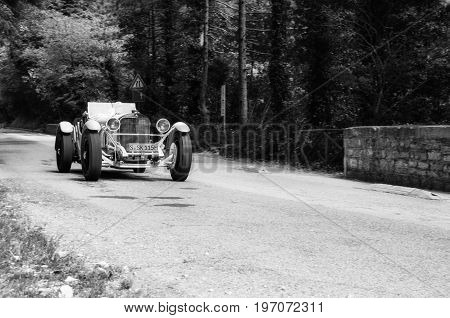GOLA DEL FURLO, ITALY - MAY 19: MERCEDES-BENZ 710 SSK 1928 on an old racing car in rally Mille Miglia 2017 the famous italian historical race (1927-1957) on May 19 2017