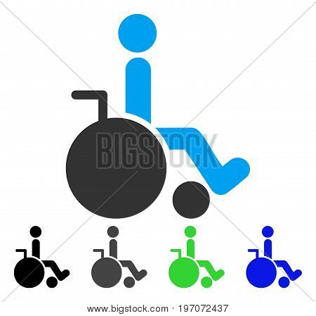 Wheelchair flat vector illustration. Colored wheelchair gray, black, blue, green icon variants. Flat icon style for application design.