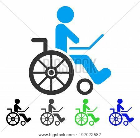 Wheelchair flat vector icon. Colored wheelchair gray, black, blue, green pictogram versions. Flat icon style for web design.