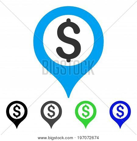 Bank Map Marker flat vector pictogram. Colored bank map marker gray, black, blue, green pictogram versions. Flat icon style for application design.