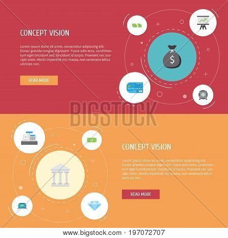 Flat Icons Money, Growing Chart, Payment And Other Vector Elements