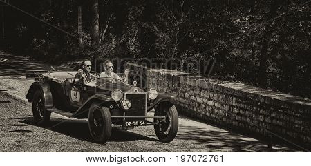 GOLA DEL FURLO, ITALY - MAY 19: LANCIA LAMBDA VIII SERIE 1928 on an old racing car in rally Mille Miglia 2017 the famous italian historical race (1927-1957) on May 19 2017