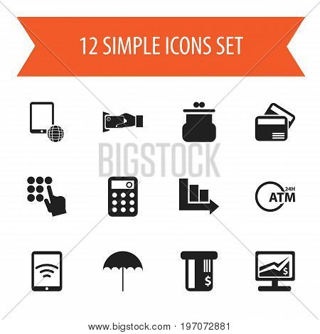 Set Of 12 Editable Investment Icons. Includes Symbols Such As Arrow, Network, Insurance And More