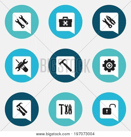 Set Of 9 Editable Toolkit Icons. Includes Symbols Such As Instrument, Service, Utility And More