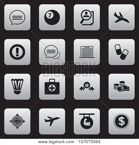 Set Of 16 Editable Mixed Icons. Includes Symbols Such As Plane, Messaging, Biceps And More