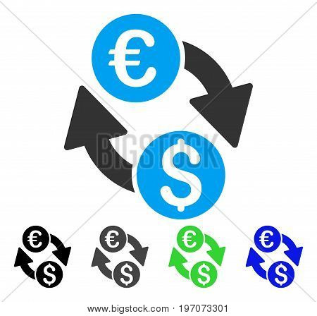 Euro Money Exchange flat vector icon. Colored euro money exchange gray, black, blue, green icon variants. Flat icon style for application design.