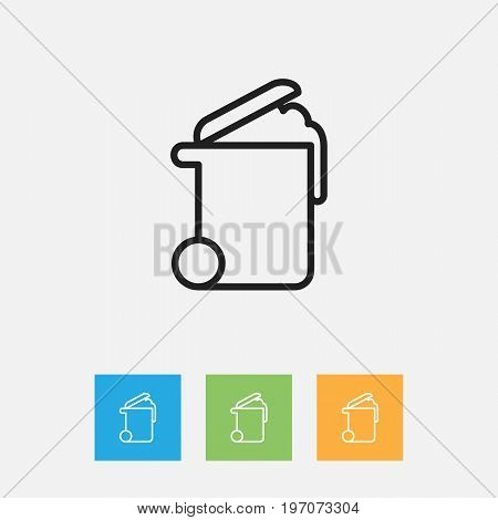 Vector Illustration Of Cleanup Symbol On Rubbish Container Outline