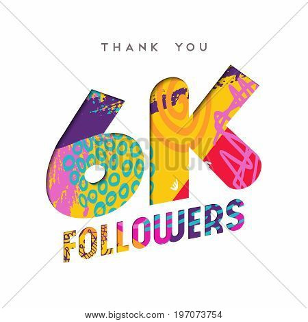 6K Social Media Follower Number Thank You Template