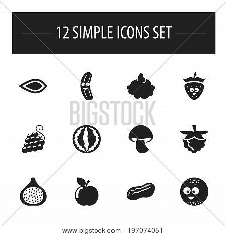 Set Of 12 Editable Kitchenware Icons. Includes Symbols Such As Mushroom, Cucumber, Sweet Fruit And More