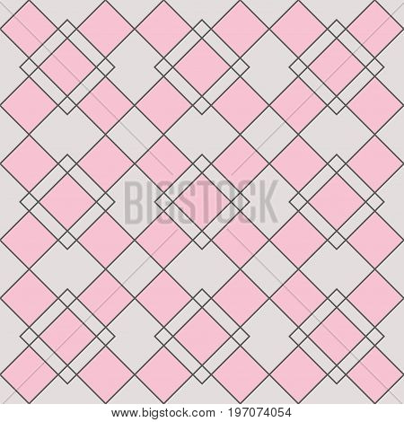 Harlequin geometric seamless patterns. Grey grid pattern with pink rhomboids. Vector background in abstract style