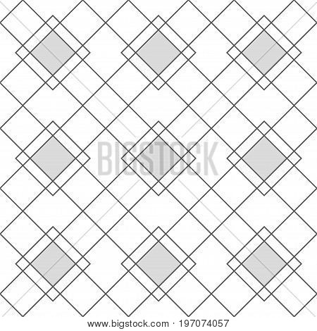 Harlequin geometric seamless patterns. Grey grid pattern with grey rhomboids. Vector background in abstract style