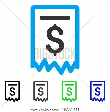 Payment Receipt flat vector illustration. Colored payment receipt gray, black, blue, green pictogram versions. Flat icon style for web design.