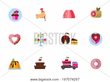 Cakes icon set. Cupcake Cake decoration Jelly Roll cake Heart-shaped donut Sweet stand Piece Heart-shaped cake Creamy caramel flat dessert Chocolate dessert Delivery by truck Doughnut