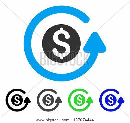 Refund flat vector pictogram. Colored refund gray, black, blue, green pictogram variants. Flat icon style for web design.