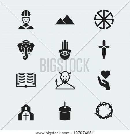 Set Of 12 Editable Religion Icons. Includes Symbols Such As Eye On Hand , Gospel , Poniard