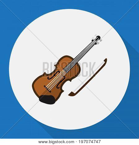 Vector Illustration Of Media Symbol On Violin Flat Icon