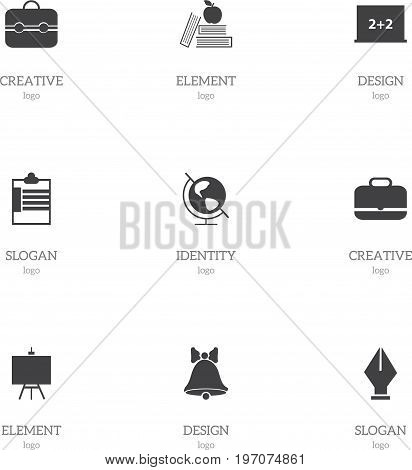 Set Of 9 Editable School Icons. Includes Symbols Such As Jingle, Textbook, Portfolio And More
