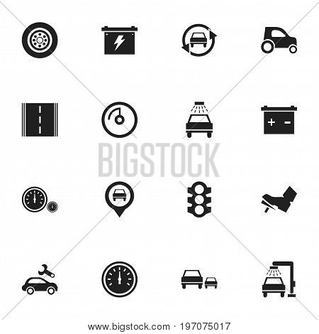 Set Of 16 Editable Transport Icons. Includes Symbols Such As Odometer, Race, Automotive Fix And More