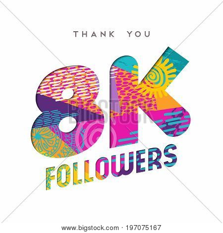 8K Social Media Follower Number Thank You Template