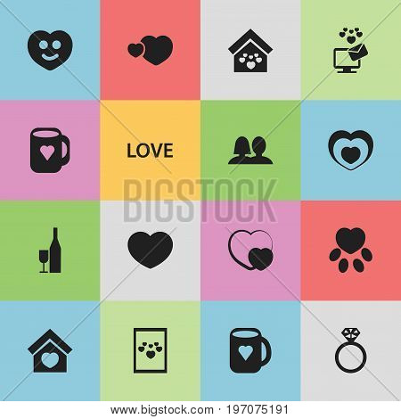 Set Of 16 Editable Love Icons. Includes Symbols Such As Trappings, Heartbeat, Soul And More