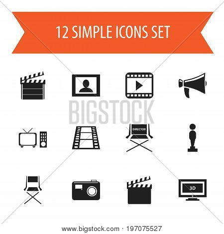 Set Of 12 Editable Filming Icons. Includes Symbols Such As Action, Screen, Movie Player And More