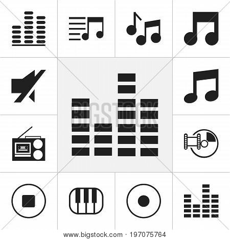 Set Of 12 Editable Media Icons. Includes Symbols Such As Musical Symbol, Audio Note, Break Music And More