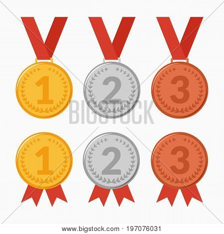Vector illustration. Set of icons of award winning medals. The first, second, third place. Gold, silver, bronze.