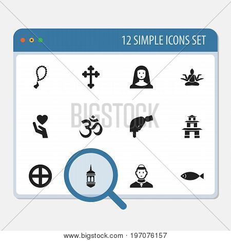 Set Of 12 Editable Religion Icons. Includes Symbols Such As Minaret, Holy Sister, Mullah And More