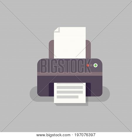 Flat office printer in vector. Office equipment. Printer for printing documents.