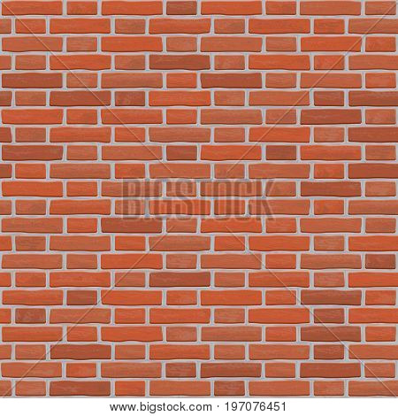 Vector illustration. Seamless background. A pattern of old worn red bricks. Wall.