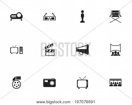 Set Of 12 Editable Cinema Icons. Includes Symbols Such As Oscar, Show, Shooting Seat And More