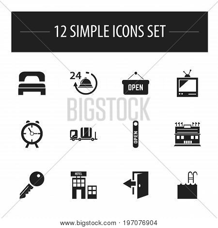 Set Of 12 Editable Hotel Icons. Includes Symbols Such As Open Sign, Pool, Luggage And More
