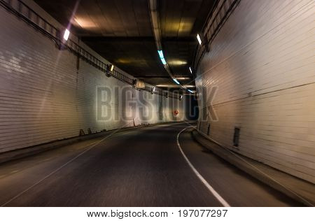 Montreal, Canada - May 28, 2017: Tunnel On Autoroute 720 Expressway Ville Marie In Quebec Region Cit