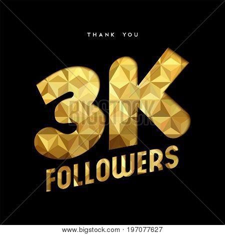 3K Gold Internet Follower Number Thank You Card