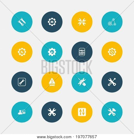 Set Of 16 Editable Toolkit Icons. Includes Symbols Such As Arithmetic, Build Equipment, Utility And More