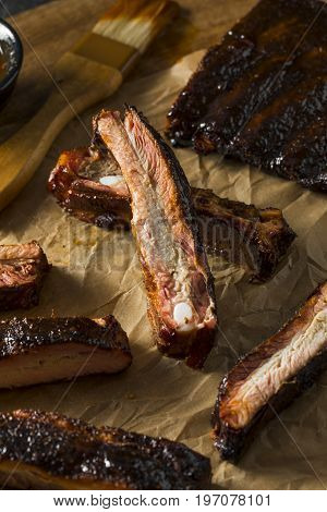 Homemade Smoked Barbecue St. Louis Style Pork Ribs