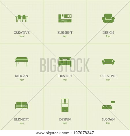 Set Of 9 Editable Furniture Icons. Includes Symbols Such As Trestle, Wardrobe, Settee And More