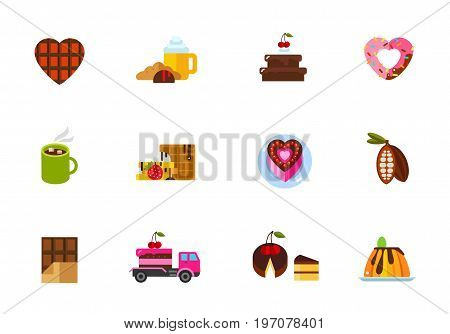Dessert icon set. Chocolate heart Coffee break Cake with cherry Heart-shaped donut Hot chocolate Belgium waffle Heart-shaped cake Cocoa Chocolate bar Delivery by truck Piece Creamy caramel dessert