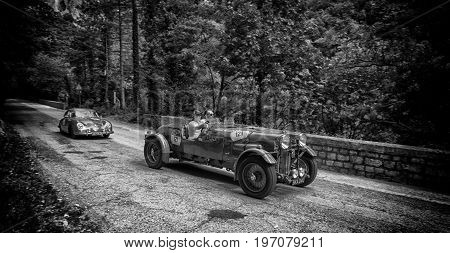 GOLA DEL FURLO, ITALY - MAY 19: LAGONDA M45 RAPIDE 1935 on an old racing car in rally Mille Miglia 2017 the famous italian historical race (1927-1957) on May 19 2017