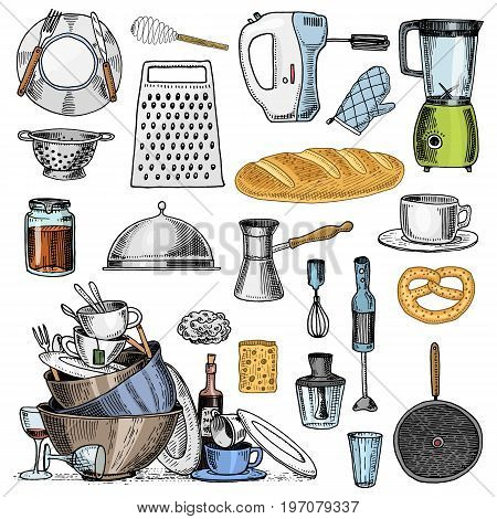 Grater and whisk, frying pan, Turk for coffee, cup of tea, mixer and baked loaf. dirty kitchen utensils, cooking stuff for menu decoration. engraved hand drawn in old sketch and vintage style