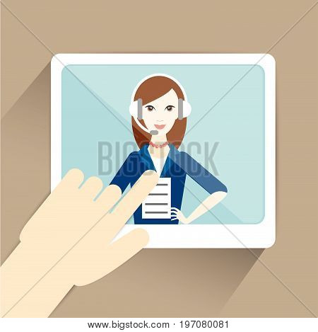 Hand with tablet computer. Video online meeting chating. Flat vector ilustration..