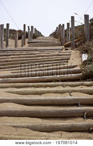 Wooden beach stairs in San Francsico, California.