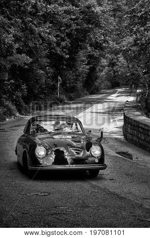 GOLA DEL FURLO, ITALY - MAY 19: PORSCHE 356 1500 SUPER 1953 on an old racing car in rally Mille Miglia 2017 the famous italian historical race (1927-1957) on May 19 2017