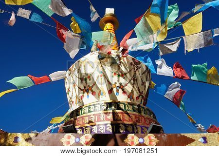 Buddhist stupa in the city Shangri-La in China. City called the gate to the Tibet often visited by tourists