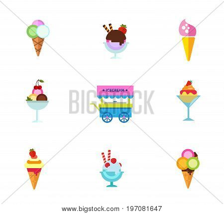 Ice cream dessert icon set. Ice cream Chocolate and strawberry Cone Cherry dessert in bowl Ice cream cart Glass bowl Waffle cone Strawberry dessert Balls in waffle scoop