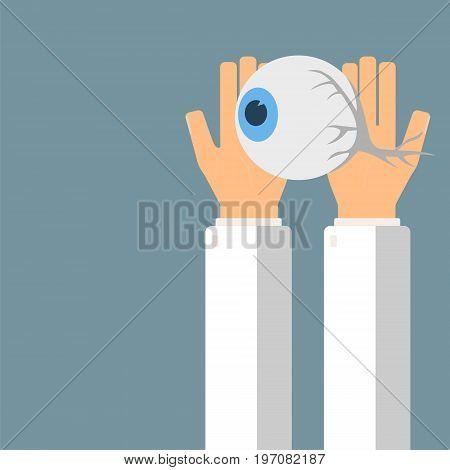 Doctor hold eyeball in hands. Transplantation or treatment eye. Healthcare concept. Vector illustration.